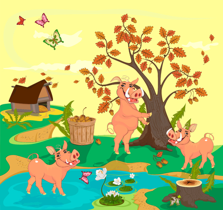 One of the three smiling boars splashing in the pond, the second shakes the oak with acorns, and the third is going to help the second one to pick up the harvest of acorns