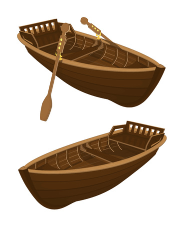 Two variants of a brown wooden boat with paddles and without paddles on a white background