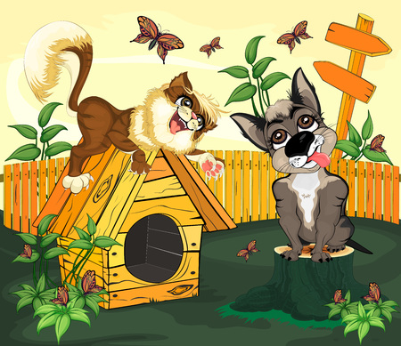 The cat lies on a doghouse located on the lawn, and looks at the dog sitting next to the stump