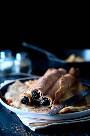 Staple of yeast pancakes, traditional for Russian pancake week photo
