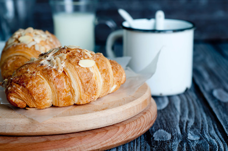 croissant: Fresh baked croissants, croissants with soft almond filling