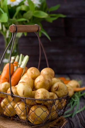 russet: young potatoes and carrots on wooden background