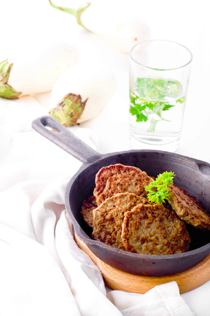 hemoglobin: Cutlets from the liver. Hepatic fritters. Food increases hemoglobin. Stock Photo