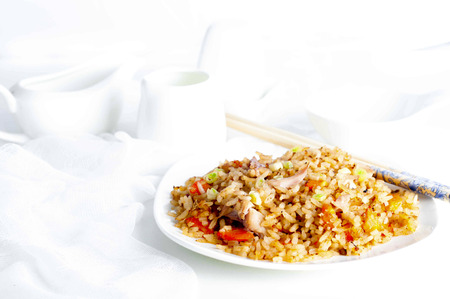rice plate: Plate of chicken fried rice with chopsticks on  plate