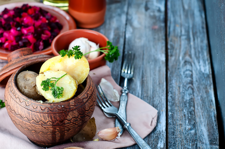 baked potatoes: Baked potatoes are a delicious fresh vegetables on a white background. Stock Photo