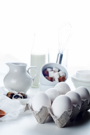 in readiness: Fresh organic eggs in a basket  and readiness for cooking