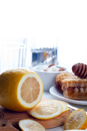 ingridients: Honey, lemon and ginger tonic and ingridients Stock Photo