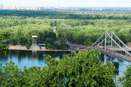 dnepr: View on bridge over the water of Dnepr river in Kiev, Ukraine Stock Photo
