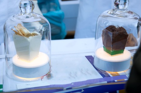 creative dishes of molecular cuisine on food stall