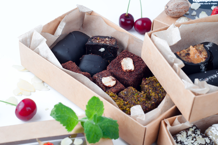 Assorted gourmet useful chocolate in a box. Stock Photo
