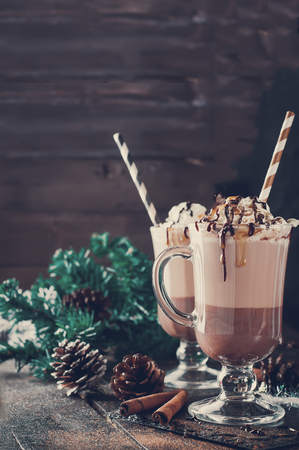 Cup of hot cocoa or coffee for Christmas with whipped cream, shaved chocolate, vanilla pod, spices and gray scarf against a rustic background. Stock Photo
