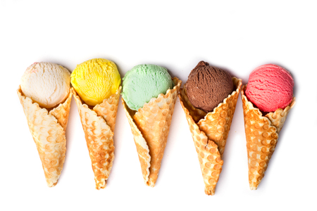 cornet: Colorful ice cream on a waffle cones collection isolated on white background, flat lay