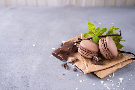 Pile of chocolate macaroons and mint on a stone background,