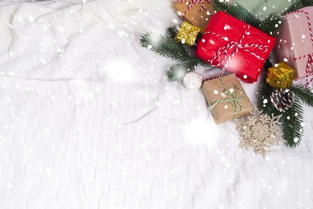 december 25: Christmas background with decorations and gift boxes Stock Photo
