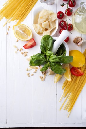 Ingredients for cooking of homemade Italian pasta Stock Photo