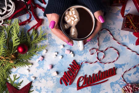 Hot Christmas Beverage Cocoa or Chocolate in Cup with Fir Tree Branch on stone Background. Winter Time Top View copy space