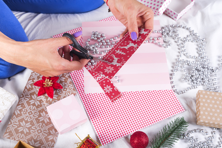 card making: Making Christmas cards and decorations Stock Photo