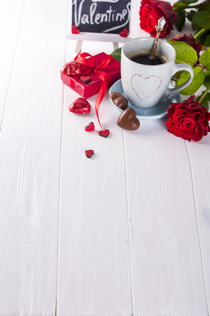 Valentine coffee with roses Stock Photo