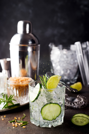 Rosemary Gin Gimlet Cocktail with Cucumber Slice