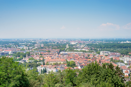 Magnificent view on Karlsruhe from top of Turmberg, Germany