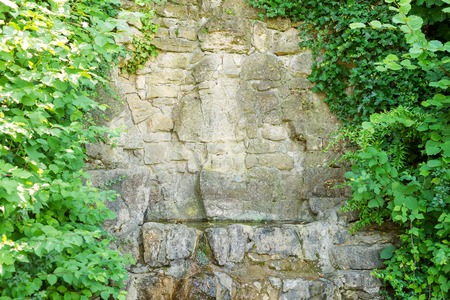 Water for drinking flows from old stones with green leaves close up