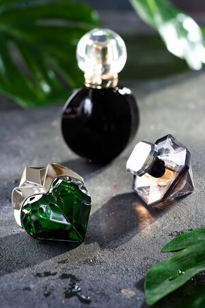 Womens perfume in beautiful bottle with green leaves on a black concrete background with bright sunlight 写真素材