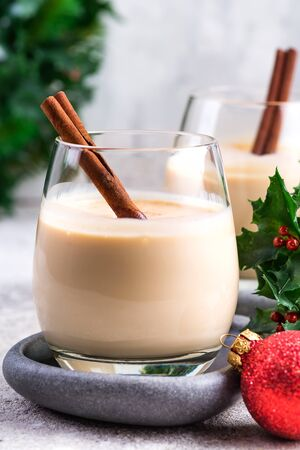 New Year or Christmas Eggnog cocktail with cinnamon and nutmeg in a glass Reklamní fotografie
