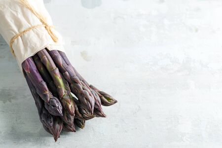 Vegan concept. Organic food. Healthy food cooking concept. Freshly picked vertical standing raw organic purple asparagus bunch for cooking healthy vegetarian dieting food against stone background, copy space. Vegan concept.