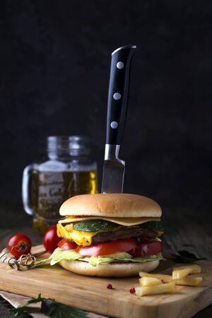 Fresh and juicy hamburger on a paper