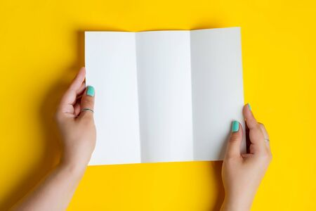 Womans hands are holding empty trifold mock-up brochure for writing letter above yellow background Standard-Bild