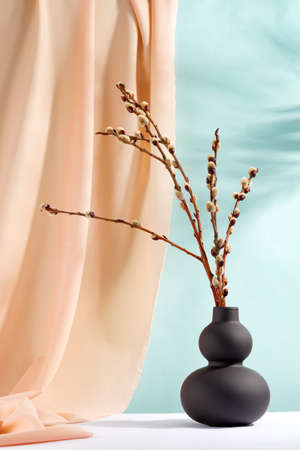branches seals in a vase with drapery fabric Standard-Bild