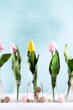Beautiful tulips in glass vases with easter eggs. Decoration for spring.