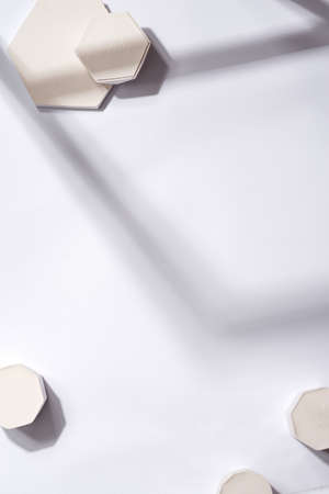 minimal abstract geometric podium scene on paper ultimate gray background Standard-Bild