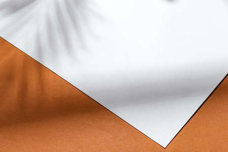 white paper note on brown background with shadow on brown background Standard-Bild