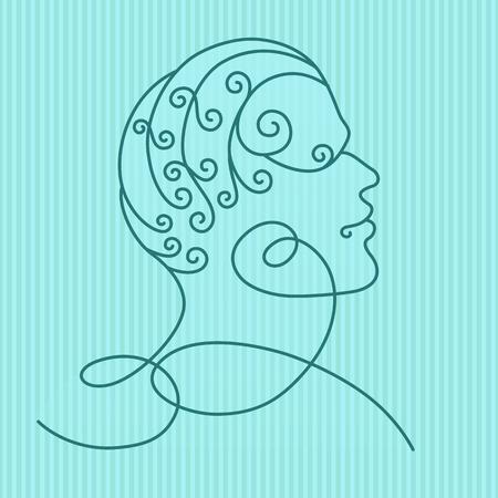 unrecognizable person: Human head profile, vector illustration