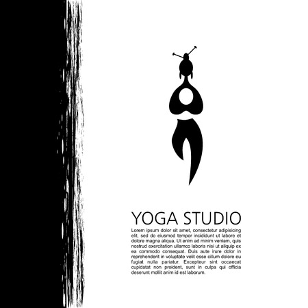 veda: Yoga studio, fitness and meditation class. Logos and badges. Symbol of man. Flat vector illustration Illustration