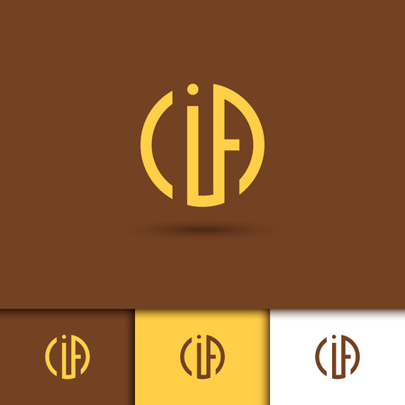 point i: Monogram of three letters in scribed in a circle in Art Nouveau style. Logo. Vector.