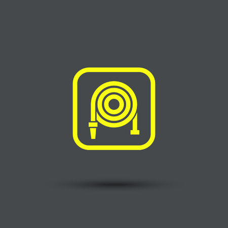 fire hose: Fire hose reel icon. Isolated. Yellow sign on the gray background.  Exclusive Symbols. Vector Illustration.