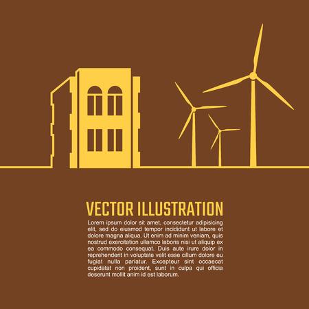 wind turbine: Smart home and wind turbine. Isolated. Vector Illustration.
