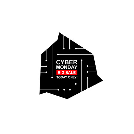 stiker: Cyber monday with pcb elements. Concept of black friday sale, motherboard, shopping, cheap, special offer. Isolated on white background. Banner, label, tag. Flat design.  art for your business.