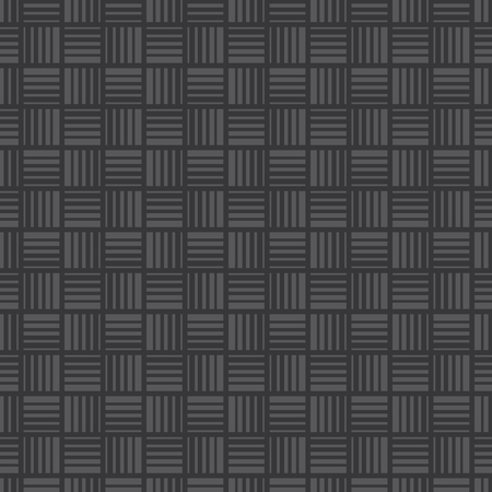 Seamless dark gray squares with stripes pattern vector.
