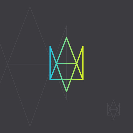 Contour design element. Hipster icon, geometric logo. Cosmic concept. Minimal design. Outline. Geometry. Crystal forms. Wire frame mesh element with triangle shapes. Abstract form.