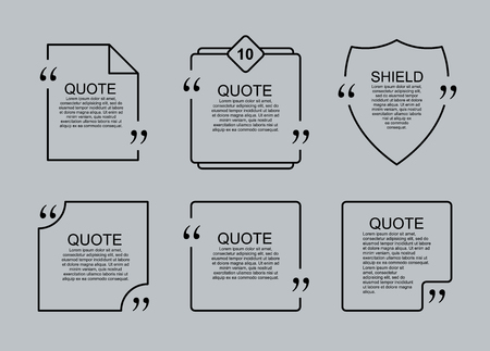 Quote blank vector template set. Commas, note, message and comment. A similar design element. Text, commas and note. Motivation and inspiration.