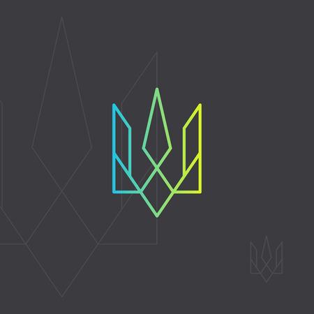 Ukrainian national symbol. Trident monogram intersection line Emblem of Ukraine. Geometric icon in minimalist style.