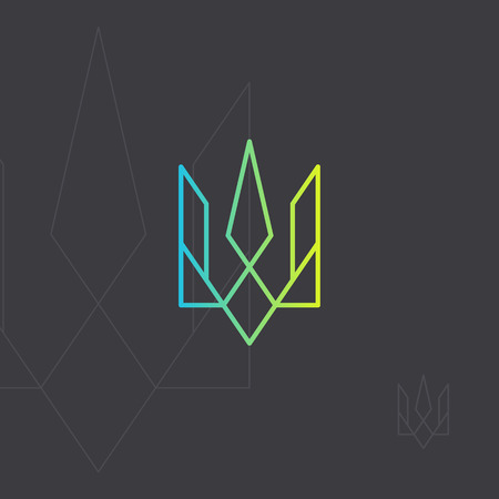Ukrainian national symbol. Trident monogram intersection line Emblem of Ukraine. Geometric icon in minimalist style.