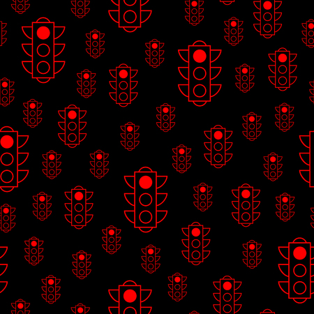 Seamless pattern of red traffic lights on black background. Flat design vector illustration. Repeating elements. Can be used for fabric, textile, wallpaper, wrapping paper, cover, header.