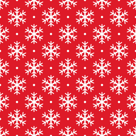 Christmas snowflake seamless pattern. White snow red background. Wrapping texture. Holiday design for Christmas and New Year fashion prints. Vector icons of winter holidays, cold season snowfall. Stock Illustratie