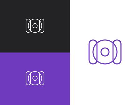 Letter initial I, O and I monogram logo design emblem template. Thin line stroke minimal geometric concept. Simple vector logo in a modern style. Stylized camera logotype. Line art, outline, monoline. Ilustração