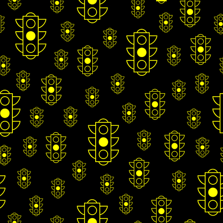 Yellow traffic light. The traffic light does not work. Vector seamless pattern background for book or package or screen design. Minimalistic style design. Illustration