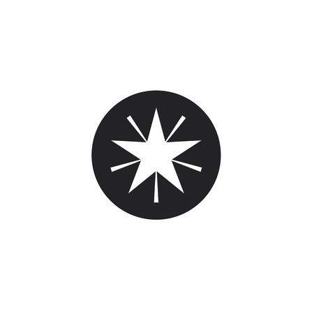 Star in circle icon. Round black white button with a Christmas or New Year festive gold star. Winter symbol. Simple vector sign illustration in a modern style for your design.